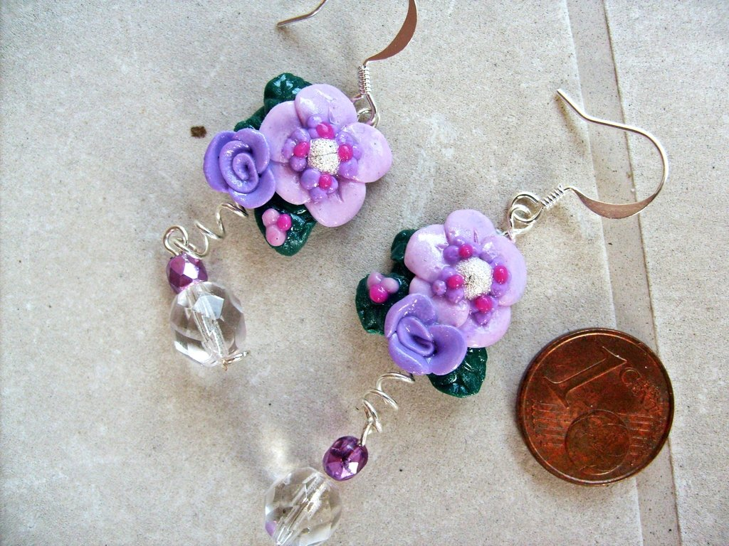 Orecchini fiore lilla