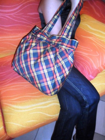 Borsa grande handmade stoffa scozzese