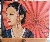 Dipinto quadro geisha ombrello oriente