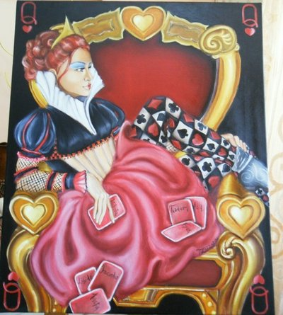 Quadro dipinto Red Queen Regina rossa alice in wonderland
