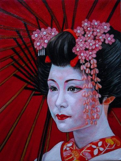 geisha olio su tela