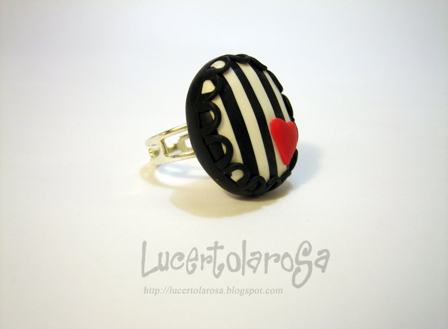 "Anello ""Stripes & heart""/ Ring"