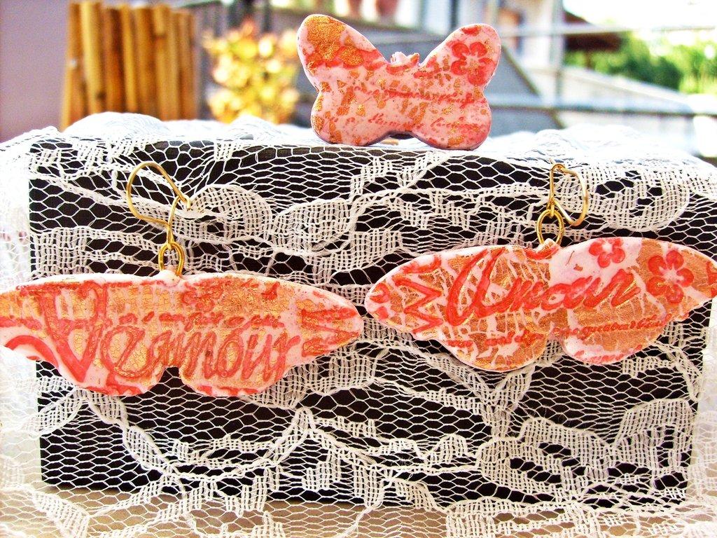 Orecchini e anello Vogue Farfalle rosso ciliegia