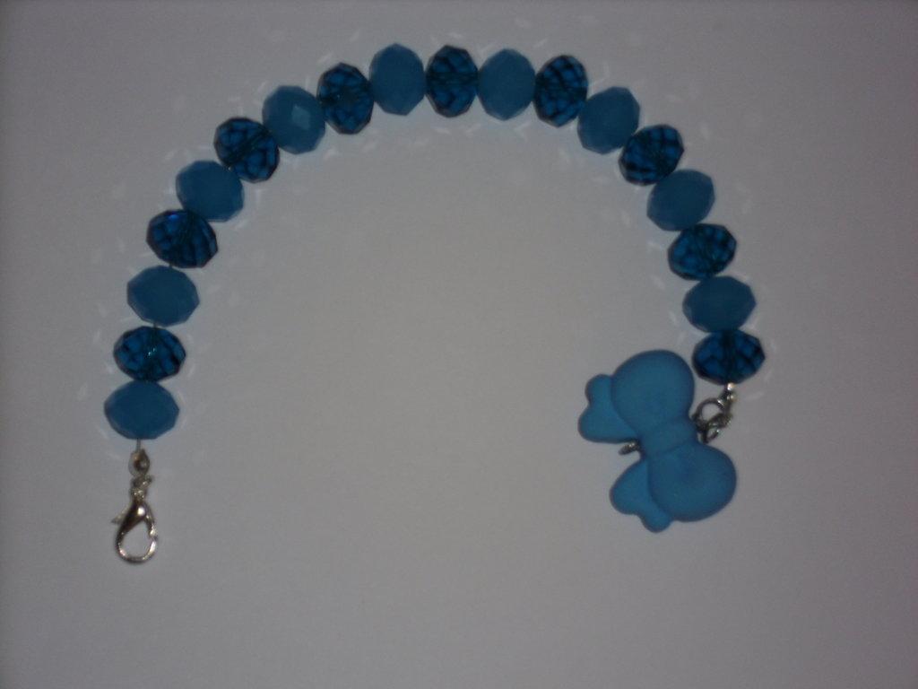 bracciale blu/celeste con fiocco