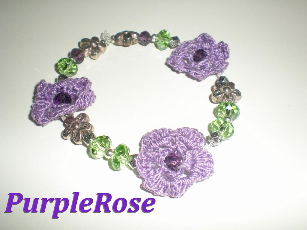 Bracciale Uncinetto Viola e Verde