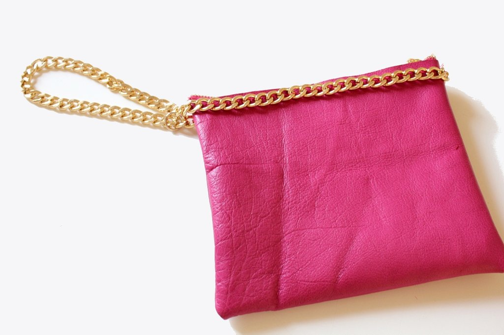 Small Leather Chained Clutch