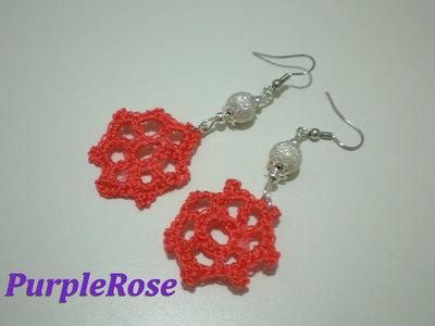 Orecchini Uncinetto Rosa corallo
