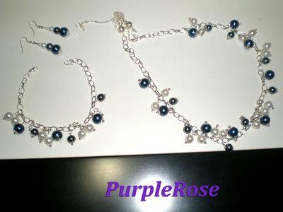 Parure Perle blu, bianche, grigie