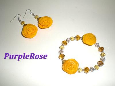 Orecchini + bracciale Rose Gialle