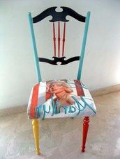 sedia artistica pop art dipinta a mano stile pop art