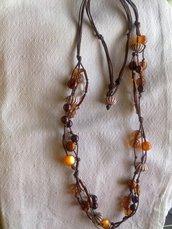 Collana con perle e nodi - 4 fili