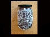 barattolo di vetro inciso tigre