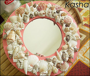 Specchio rosa conchiglie