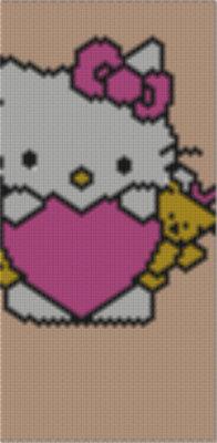 bracciale tecnica peyote hello kitty cuore