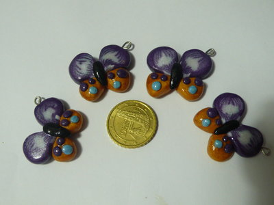4 Mini Charms Farfalle Viola Oro