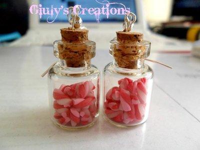 Orecchini mini bottigline con micro mashmallow