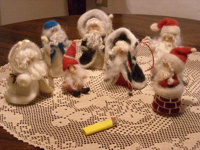 babbo natale in lana cardata vari soggetti