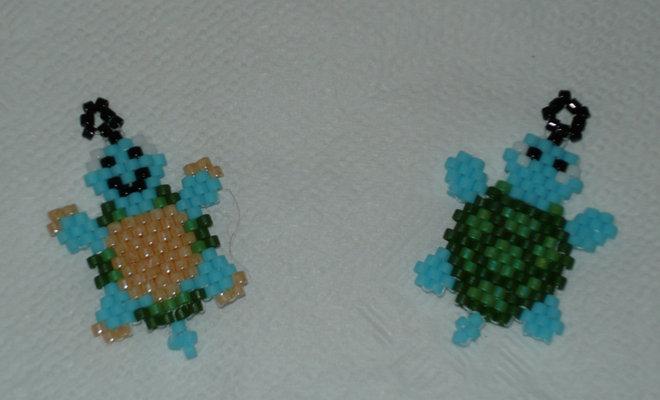 Charms x cellulare tartaruga con tecnica Brick stich