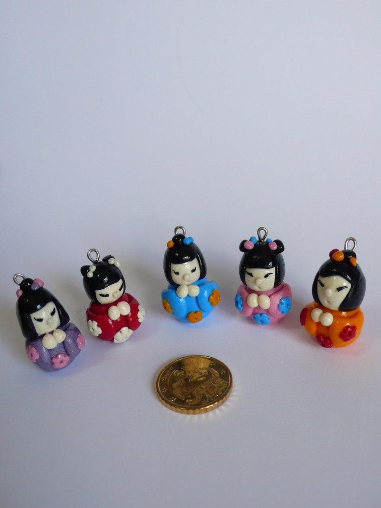 5 Mini Bambole Kokeshi