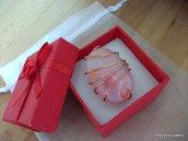 ANELLO WIRE RAME handmade agata rosa