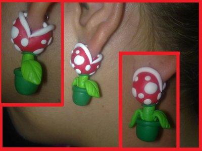 Orecchini Pianta Piranha Super Mario Bros in FIMO