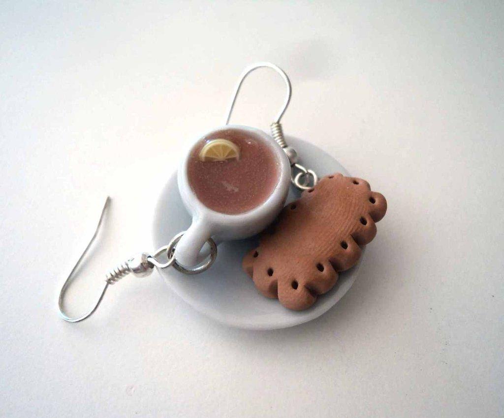 Tazza di té e biscottino - Orecchini in Fimo