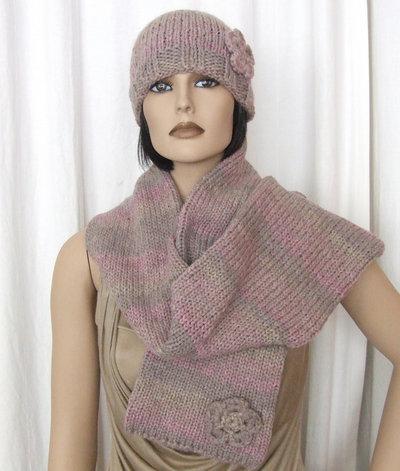 berretto cappello + sciarpa grigio rosa lana - maglia