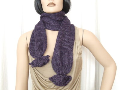 Sciarpa lana viola melange - maglia