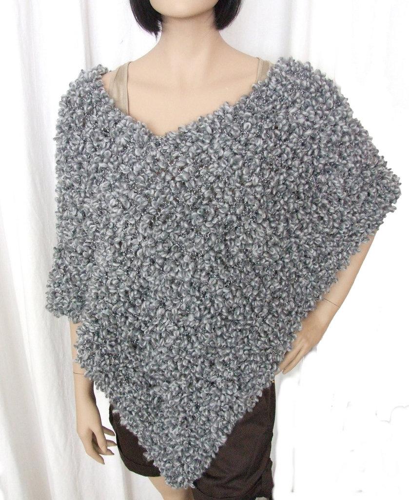 poncho mantella scialle bouclè grigio - maglia