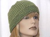 Cappello berretto in lana verde - maglia