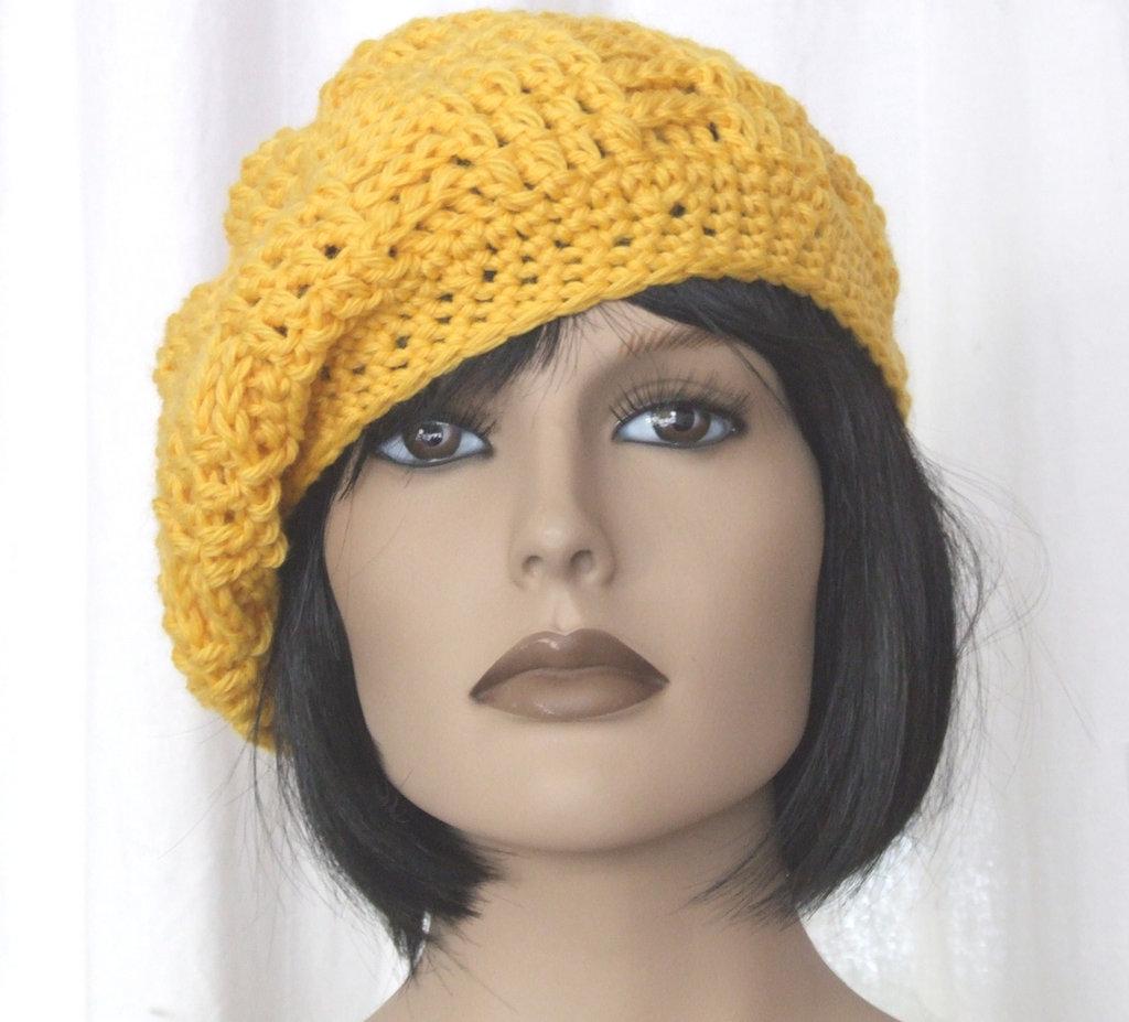 cappello basco lana giallo - uncinetto