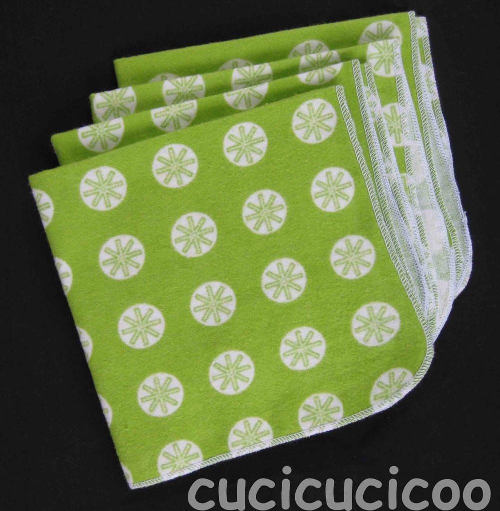 4 fazzoletti lavabili (stelle verdi) / set of 4 cloth handkerchiefs – hankies (green stars)