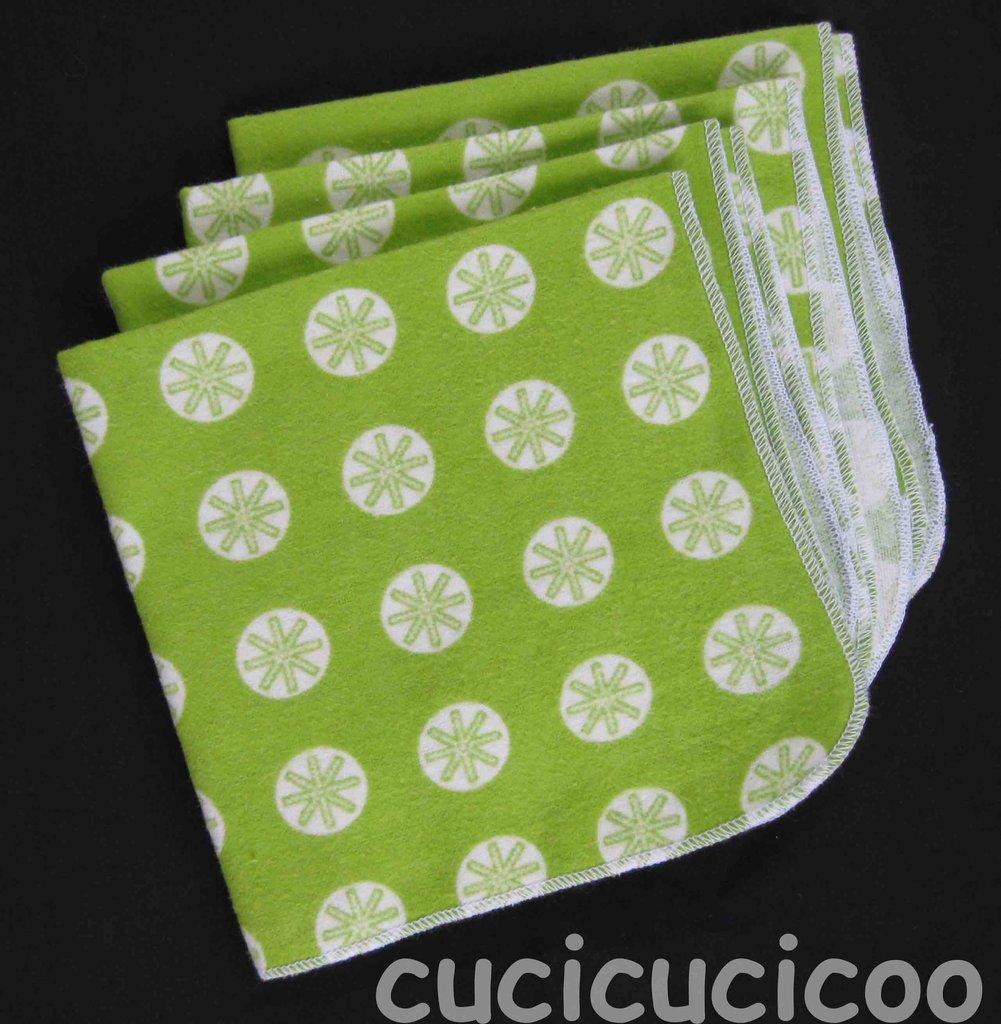 4 fazzoletti lavabili (stelle verdi) / set of 4 cloth handkerchiefs – hankies (green stars)