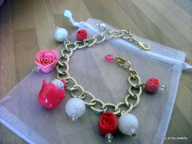 "BRACCIALE GOLD HELLO KITTY "" Queen's Roses"" ROSE ROSSE ROSA PERLE AVORIO"