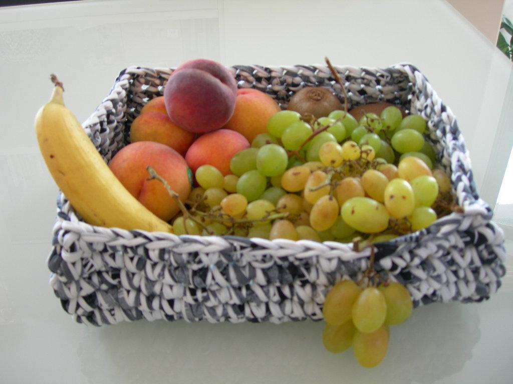 cesto portafrutta in fettuccia di cotone