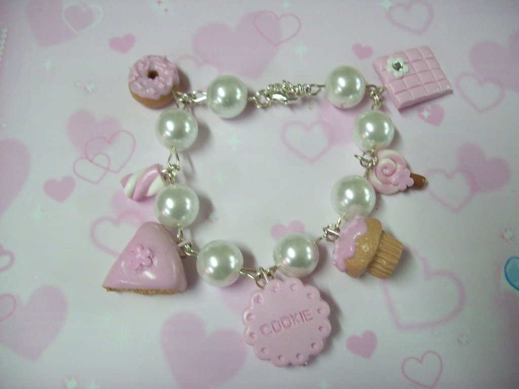 Pink multicharms bracelet-7pendants