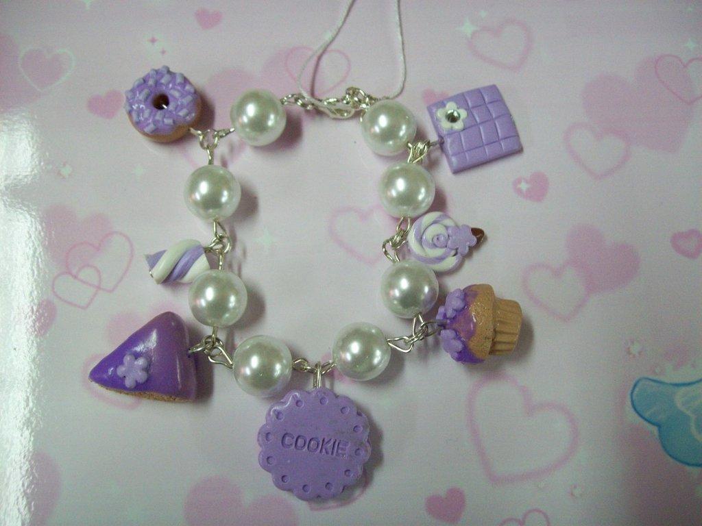 Violet multicharms bracelet-7pendants