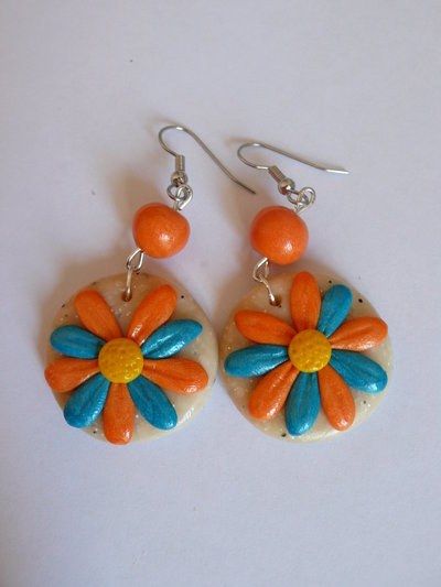 Orecchini Margherite Turchesi Arancioni