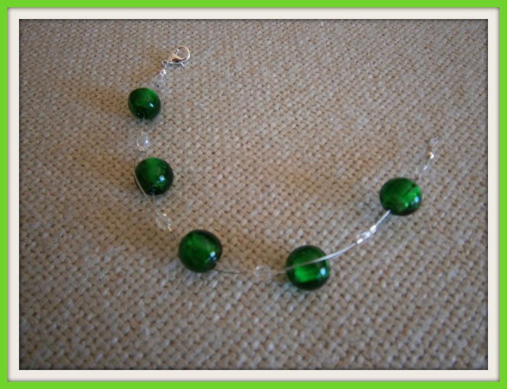 Braccialetto perle verdi