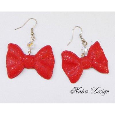 Orecchini fioccho Red glitter