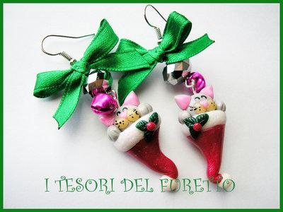 Orecchini Natale Natalizi Gattino  Fucucù Idea regalo MIcio gatto
