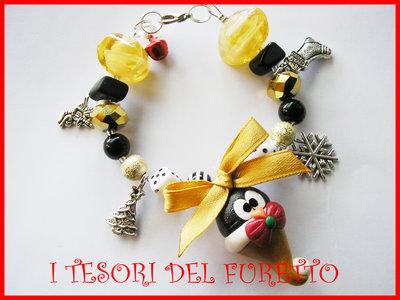 Bracciale Natale FUCUCU' Idea regalo fimo cernit Pinguino