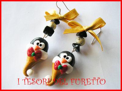 Orecchini Natale Natalizi PINGUINO ORO Fucucù Idea regalo