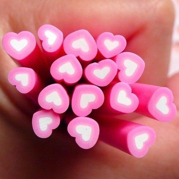 Canes in Fimo - Cuore Rosa