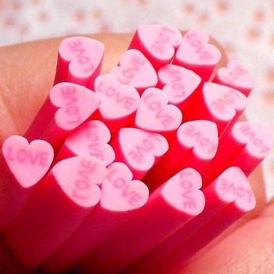 Canes in Fimo - Cuore Rosa Love
