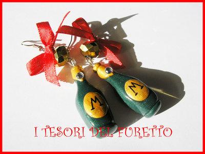 Orecchini natale Classic Bottiglia spumante Idea regalo