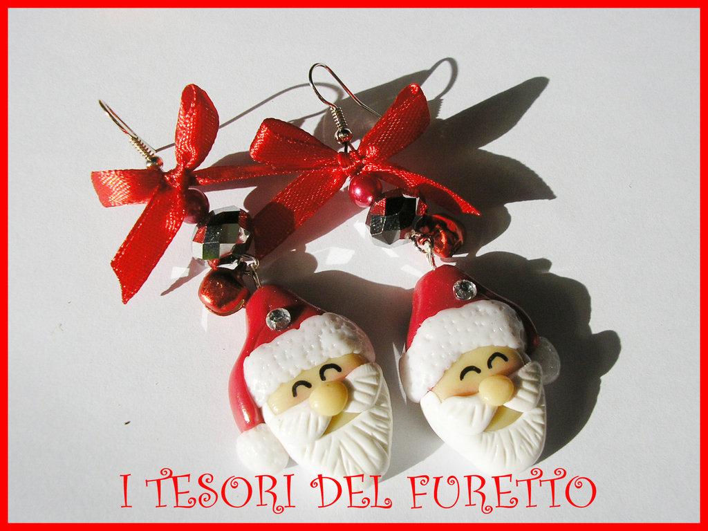 Orecchini Babbo Natale Fufuclassic Idea regalo fimo cernit