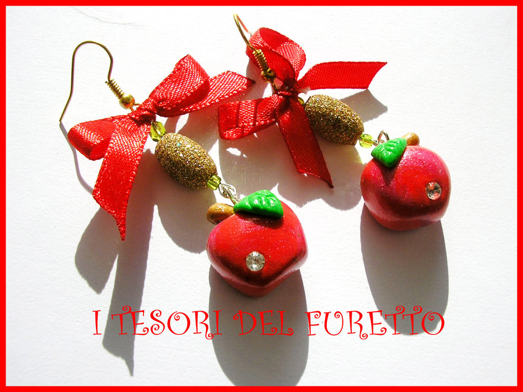 Orecchini Natale Mele Rosse Fimo cernit Fufuclassic