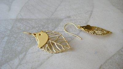 Orecchini ucellino e foglia placcati oro