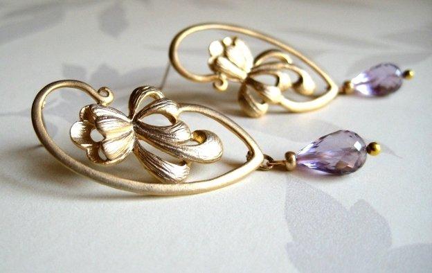 Orecchini fiore con ametista placcati oro